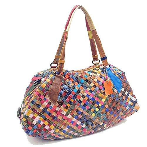 Fashion Leder Mode Damen Handtasche Leder Damentasche Schultertasche Hand bag Damentasche Tote Bag Purse Bag mit 2 Farben Bunt