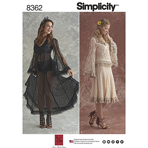 Simplicity 14–16–18–20–22Damen Spitzen-Bluse und Rock in zwei Styles Schnittmuster, weiß
