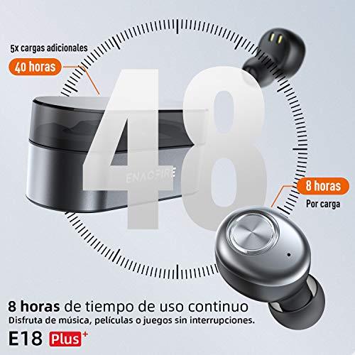 Auriculares Bluetooth,  ENACFIRE E18 Plus Auriculares inalámbricos Mini Twins APTX HD In- Ear Sport Bluetooth 5.0 con Caja de Carga inalámbrica Portátil Y Micrófono Integrado 48h reproducción,  IPX8