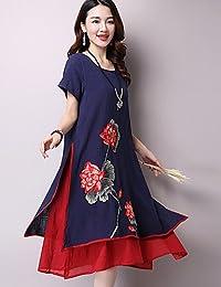 ZLL Ample Robe Femme SortieBroderie Col Arrondi Mi-long Manches Courtes Coton Eté Taille Haute Micro-élastique Moyen , xl
