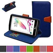 LG G4s Funda,Mama Mouth PU Cuero Billetera Cartera Monedero Con Soporte Funda Caso Case para LG G4s H735 H731 / H735L G4 Beat LTE,Azul oscuro
