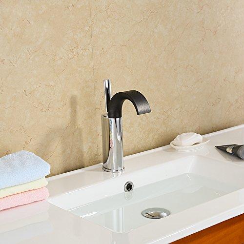 U-Enjoy Einhand-Wasserfall Top-Qualität Badezimmer-Eitelkeit-Wannen-Hahn Mit Großen Auslauf Chrom Und Schwarz [Kostenloser Versand] (Tops Mit Eitelkeiten)