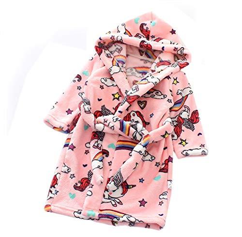 n Kapuzen-Bademantel Unisex Kleinkinder Morgenmantel Weichem Flanell Pyjamas Nachtwäsche Nachthemd Größe 110 Rosa Pferd ()