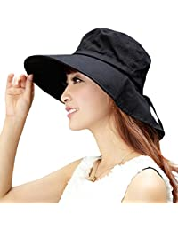 SIGGI Mujer Sol Verano Algodón Sombrero De Ala Ancha Tapa Abatible Upf 50 + Barbilla Manera Gorro