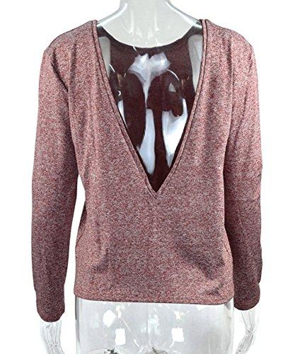 Minetom Femme Printemps Eté Chemise à Manches Longues Loose Fit Blouses Dos Nu Haut Sexy Col Rond Sweat-Shirts Pull Vin Rouge