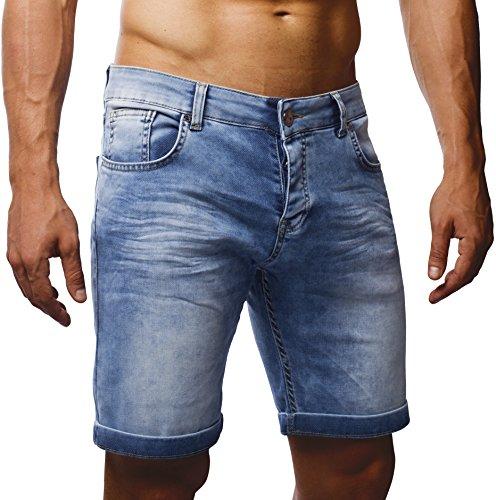 LEIF NELSON Herren Jeans Shorts LN1397 Gewaschen Hell Blau