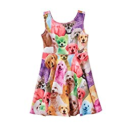 Little Girl's Classical Animals Printed Sleeveless Summer Dress cat from Free fisher