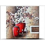 Art-Gallery XXL–40x 40cm–Las orquídeas en un jarrón rojo–Reloj de pared cuadro–Deco moderno–New Design