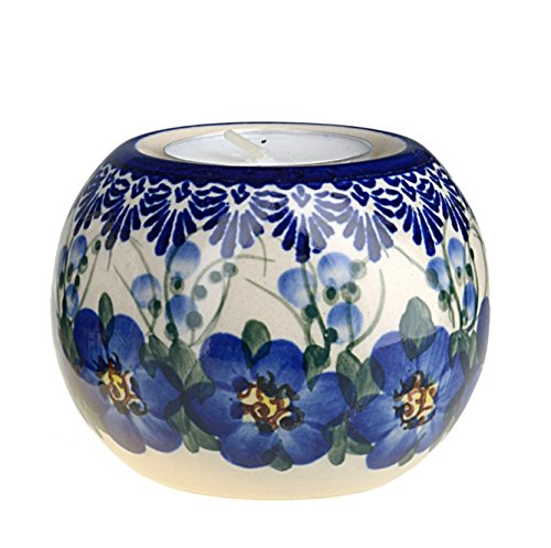 Classic Boleslawiec, Polish Pottery, Hand Painted Ceramic Ball, Tea Lite Candle Holder 501-u-003