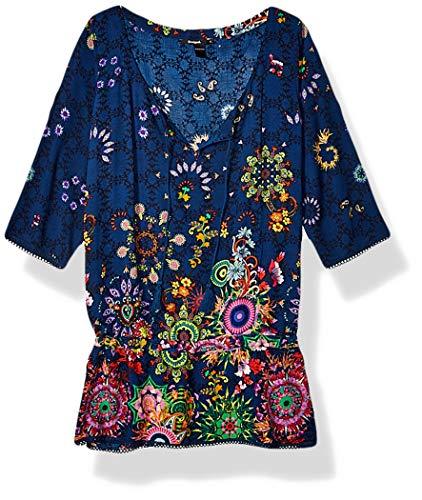 Desigual Damen Bluse Top Swimwear Melina,Blau (Navy 5000), Gr. XS DE (Herstellergröße: Small) (Navy Blusen Und Tops)