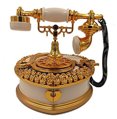 Alta qualità scatola da musica di design retrò telefono stile vintage a forma di cuore creativo bianco