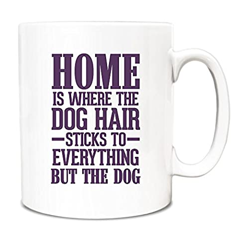 Purple Home is where the dog hair sticks to everything but the dog Mug A083