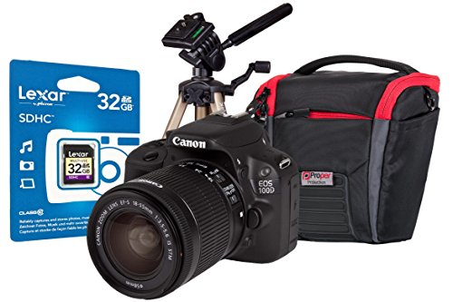 EOS 100D Black SLR IS Kit Bundle 18-55mm 32GB SD Tripod & Case