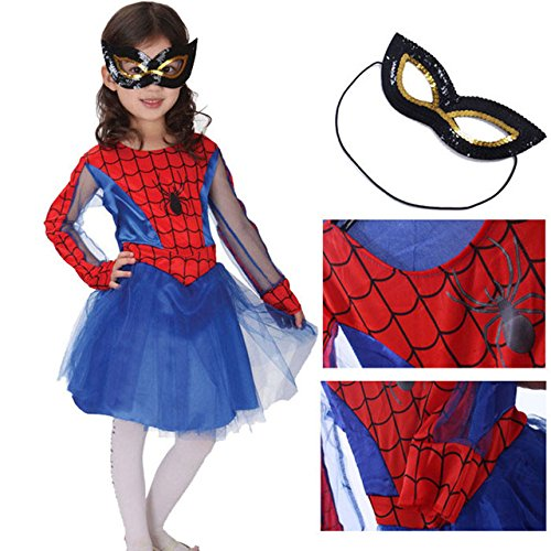 Baby and Blossoms Super Man Girl fancy dress for kids,Super Hero Costume for annual function/theme Party/Competition/Stage Shows/Birthday Party Dress (6-8 Years)