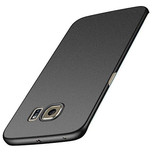anccer Samsung Galaxy S6 Edge Hülle, [Serie Matte] Elastische Schockabsorption & Ultra Thin Design für Samsung Galaxy S6 Edge (Kies Schwarz)