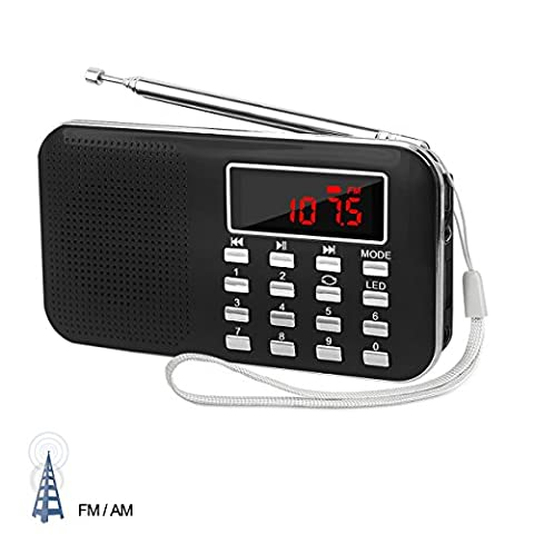 LEFON Mini AM FM Radio Media Speaker MP3 Music Player Support TF Card / USB Disk with Rechargeable and Emergency Flashlight Function