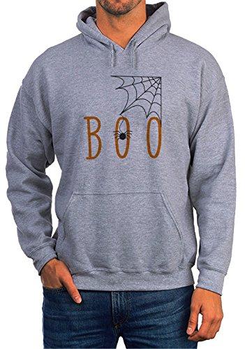 Boo Spider Web Grey Unisex Hoodie - Small (Hoodie Spider Kids)