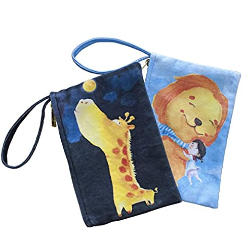 """9cmZoo Designer Multi-Functional Canvas Pouch Bag Wristlet. Use as Phone Case for iPhone, Pencil Case, Toiletry Bag, Makeup Bag, Purse or Clutch. Set of 2, each 5""""x 7.5"""""""