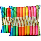2pcs Multicolor Silk Pillow Covers Indian Digital Print Sofa Cushion Covers