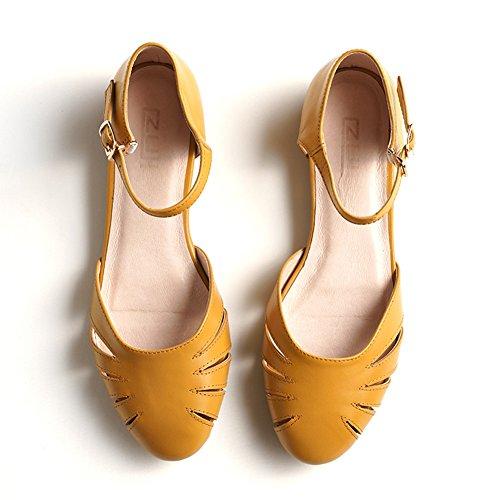 QIDI-sandali Donna Fondo Piatto Testa Rotonda Cavo Slittata Tacchi Bassi Scarpe Singole (Colore : Giallo, dimensioni : EU37/UK4.5-5)