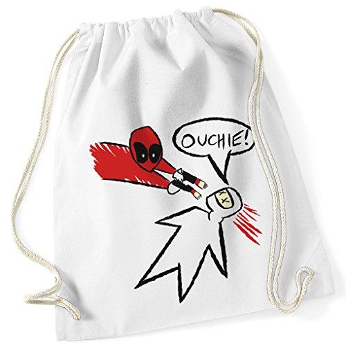 Ouchie Zeichnung / Shoot / DEADPOOL / Wade Wilson / 100% Baumwoll Turnbeutel mit Aufdruck und Motiv / Unisize, Onesize, Unisex / Ideales Geschenk / Rucksack, Beutel, Jutetasch, Jutebeutel / Hipster Fashion / vanVerden (White (Weiß)) (Karneval Kostüme Zeichnungen)