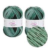 MyOma Wolle Zum Socken Stricken Sockengarn Go! Waldgrün (Fb 331) * 2 Knäuel Grüne Sockenwolle – Sockenwolle 4fädig – Nadelstärke 2,5-3mm – Socken Wolle 100g – Wolle Zum Socken Stricken