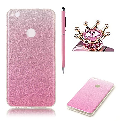 huawei-p8-lite-2017-caseskyxd-gradient-color-pink-luxury-sparkle-glitter-slim-soft-flexible-silicone