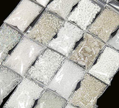 Rocailles Perlen Weiss Crystal Klar Set 2mm