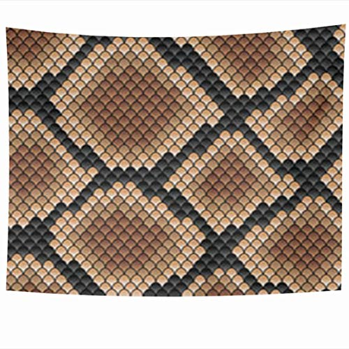 Tapestry Art Decor, Wall Hanging Tapestries 80 x 60 Inches Snakeskin Pattern Showing Scale Detail Geometric Diamond Formation Shades Brown Gallery Decor Tapestry for Home Bedroom Living Room Dorm Snakeskin Tier