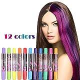 Haarkreide, XIAO MO GU 12 Farben Temporäre Haar Kreide Set für Mädchen, Haar Colorationen Tönungen Auswaschbar und Ungiftig für Halloween, Fasching, Partys, Festivals