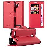 Cadorabo Hülle für Lenovo C2 - Hülle in Karmin ROT – Handyhülle mit Kartenfach und Standfunktion - Case Cover Schutzhülle Etui Tasche Book Klapp Style