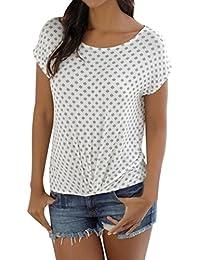 ca610b37553db Longra T Shirt Damen Beachwear Strandshirt Kurzarm T-Shirt Top Alloverdruck  und Uni Boho Blusetop mit Rundhals Damen Luftig und…