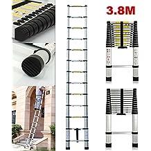Nueva 12,5m escalera telescópica extensible de aluminio fordable portátil para Multi Función DIY Builders jardín trabajo ático loft, 150kg/330lbs