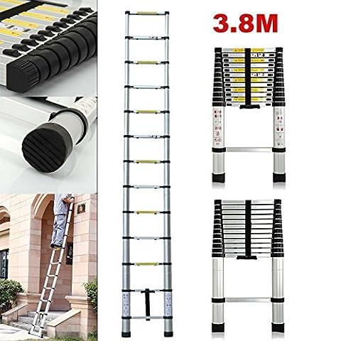 New 12,5ft Teleskop Leiter Aluminium ausziehbar zusammenklappbar tragbar für Multi-Funktion DIY Builders Garten Arbeit Loft, (Folding Attic Leiter)