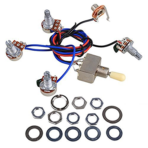 Wiring harness kit for LP electric guitar Replacement, 2T2V 3K 500 track switch with Jack For Dual Humbucker Les Paul Guitar, Cream suggestion
