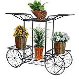 Étagère de Pots de Fleurs Plantes Chariot avec 6 Corbeilles en Métal Fer Forge pour Décoration Maison Balcon Terrasse Jardin Entrée -Dazone®-Noir...