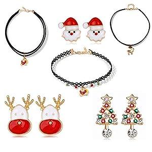 Gkmamrg Weihnachten Geschenk für Frauen Mädchen, 3 Paare Weihnachtsohrstecker 3 Weihnachten Damen Choker Halsband Verstellbar Weihnachtsmann Ohrringe