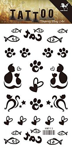 (Neues Design und heiße verkaufende reizende Katze Mutter und Kind, Fische, Fußabdrücke realistisch und gefälschte temporäre Tattoo-Aufkleber)