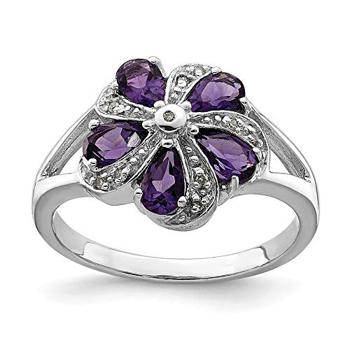 Sonia Jewels - 925 Sterling Silver Engagement Ring with Simulated Purple Amethyst Birthstone (.04 Carat) (2 mm)