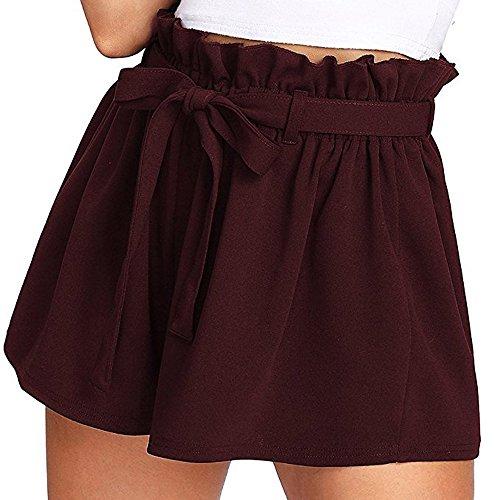 Pantalons Court Femme,SANFASHION Shorts Bermudas Nouveaux Mode Pantacourte Taille Haut Poche Sexy Pantalons Courts été Plage Vin a, L