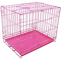 Lovely PET'S KINDOM-Folding Metal cage with Removable Tray and paw Protector for Dogs,Cats and Rabbits-24' Inch (Pink…