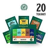 VAHDAM, Detox Tee Sortiment | 5 Tees, 4 Tea Bags | Bio Himalaya Grüner Tee, Süßer Himalaya Grüner Tee, Kurkuma Gewürz, Kardamom Spiced Chai & High Mountain Oolong Tee 20 teebeutel für losen tee