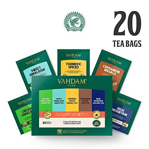 VAHDAM, Detox Tè Sampler, 5 TÈ - Confezione Di Varietà Di Tè | 20 Bustine Di Tè...