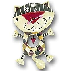 Enesco Disney Allen Designs - Reloj con motivo de gato con corazón, de resina, altura de 33.5 cm, multicolor
