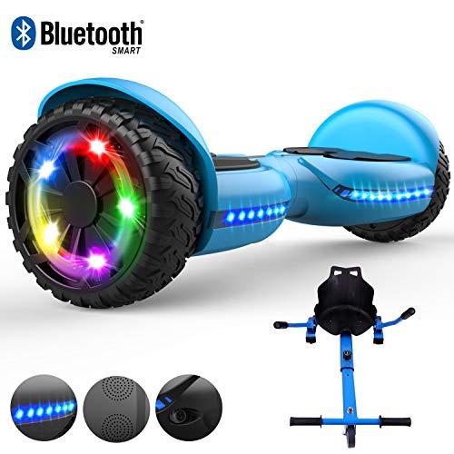 RCB Hoverboard 6,5-Zoll-Elektro-Roller für Erwachsene Kinder mit Blinklichtern Breite Robuster Reifen Integrierte Bluetooth freie Tragetasche mit Hoverkart Go-Kart