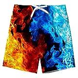 Spreadhoodie Big Ragazzi Casual 3D Colorata Stampato Shorts da Spiaggia Hawaiano Asciugatura Veloce Sport Costumi da Bagno Fuoco 14-16 Anni