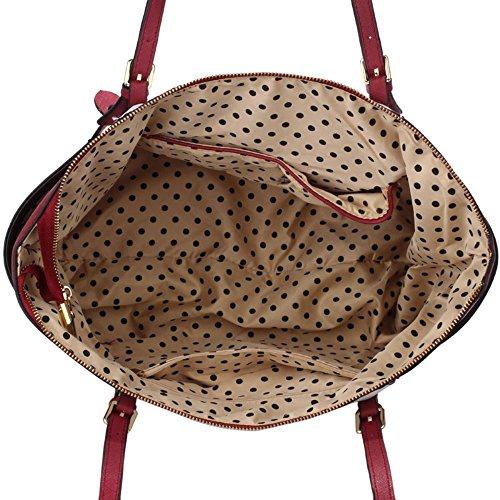LeahWard® Damen Übergröße Schulter Handtasche Damen Qualität Kunstleder Berühmtheit Käufer Tragetaschen CWS00350 CWS00476 CWS00350-BURGUNDY/Weiß