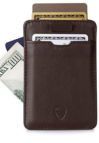 Chelsea Custodia a portafoglio con portacarte, sottile, con RFID Protezione por Vaultskin–di prima qualità–di pelle Italiana, motivo titolare della carta, fino a 12carte marrone Taglia unica