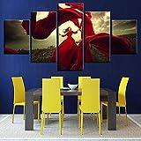 mmwin Affiche MuraleDécoration sur Art Modulaire Maison 5 Panneau Fille Danse Salon HD Imprimé Moderne...