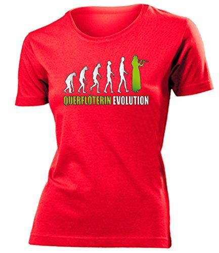 love-all-my-shirts QUERFLÖTERIN Evolution 4589 Damen T-Shirt (F-R-Weiss-Grün) Gr. M